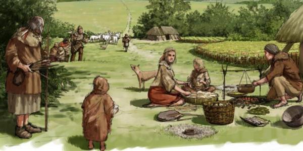 Bannière village sodenne bronze homo sapiens